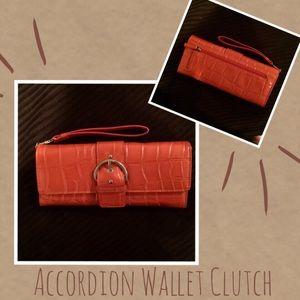 Handbags - Shimmering Orange Accordion Wallet Clutch