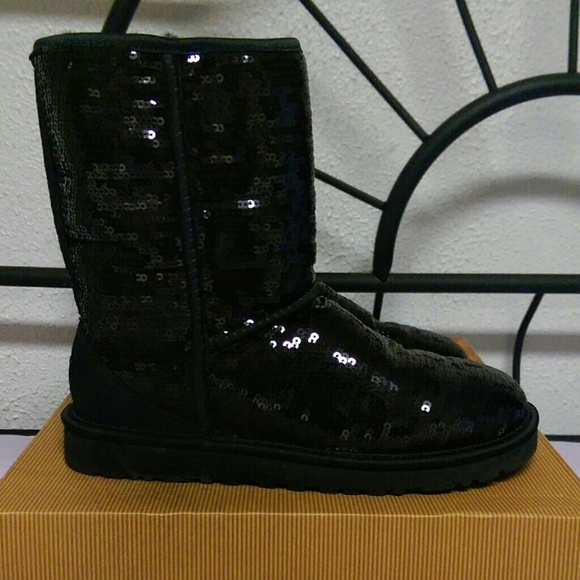 New Black Sparkle Sequin Classic Short UGG Boots