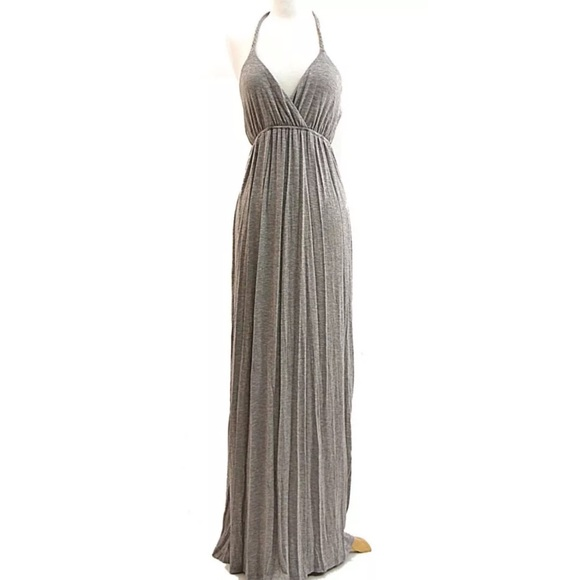 Gray Halter Empire Waist Jersey Knit Maxi Dress | Poshmark