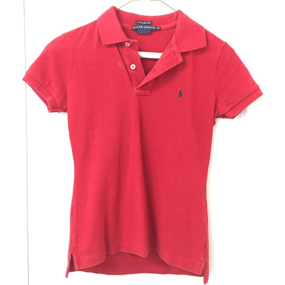 55bf82f30399 Ralph Lauren Tops   Cherry Red Skinny Polo   Poshmark