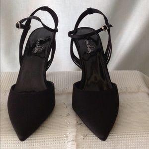 """SALE!!  Sam & Libby Black Satin Slings 3.5"""" Heels"""