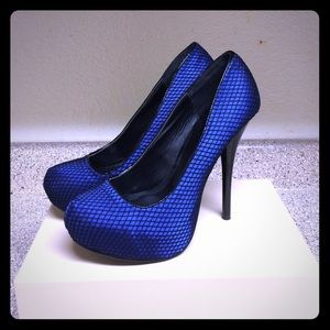 Platform Pumps- Blue Satin 5 1/2 inch heel