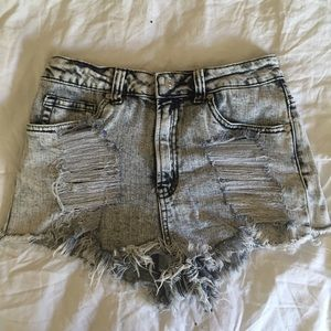 Destroyed High-Waisted Jean Shorts