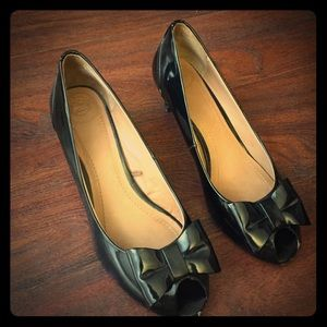 Zara low heel leather bow shoes