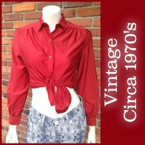 Sears Tops - Vintage polyester brick red blouse M