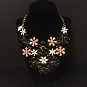 Black/Pink/White Floral Statement Necklace