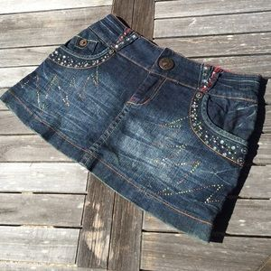 Tell Premium Denim Jean Skirt Rhinestones Studs M