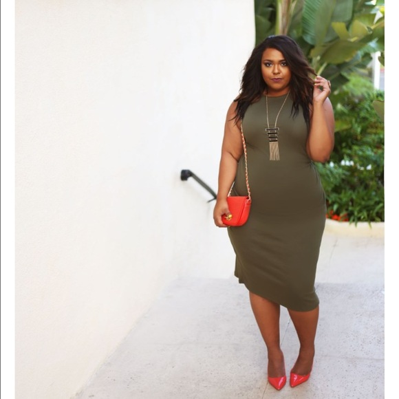 Dresses | Plus Size Olive Green Midi Dress | Poshmark