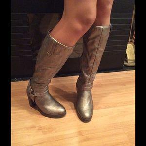 """DFR- 3"""" Stacked Heel Knee Length Boot, gunmetal"""