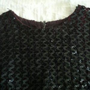 Vintage black sequined blouse