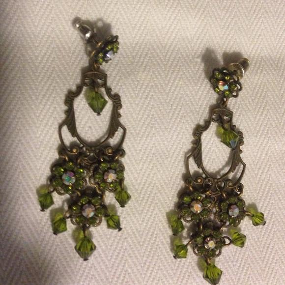 52587a5f4 Liz Palacios Jewelry - Liz Palacios Green Crystal Sparkly Dangle Earrings