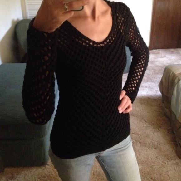 Mng Tops Black Small Crochet Long Sleeve Vneck Sweater Poshmark