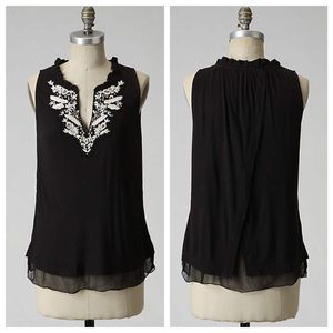 •HOST PICK• Anthropologie Black Embroidered Tank