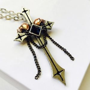 Lover's Skulls of Eternity Cross Pendant Necklace