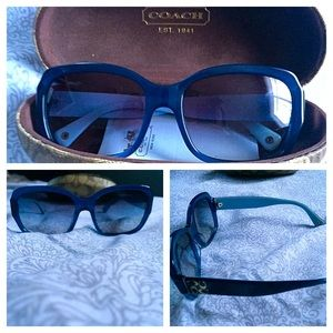 Blue monogrammed coach sunglasses. New condition.