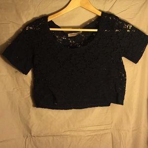 Tops - lace crop top-black
