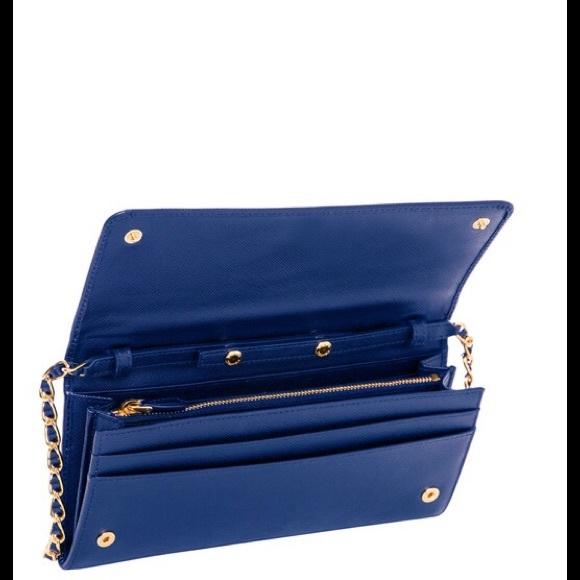 10% off Prada Handbags - Prada Clutch/ Wallet Chain Blue Saffiano ...