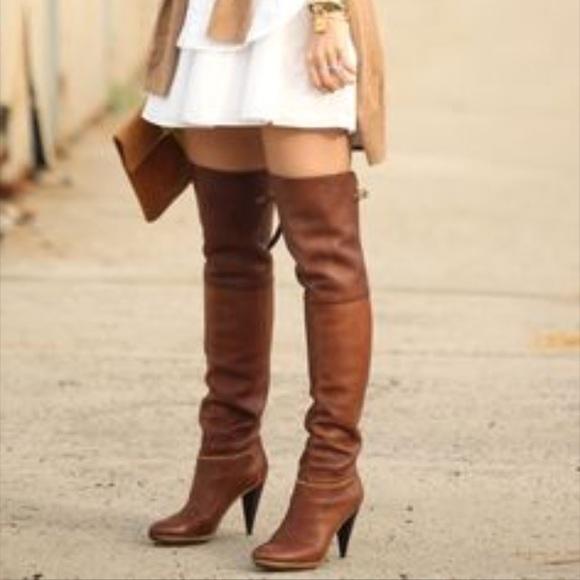 1e8ecba1f17 Balenciaga Shoes - Balenciaga leather over the knee boot. Cognac