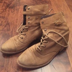 All saints tan lace up leather boot