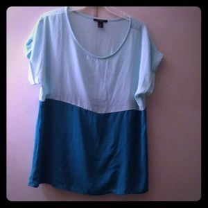 Light blue top real bottom color block blouse