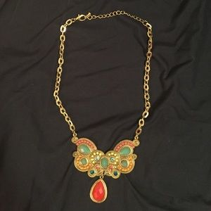 Jewelry - NWOT statement necklace gold with multicolor beads