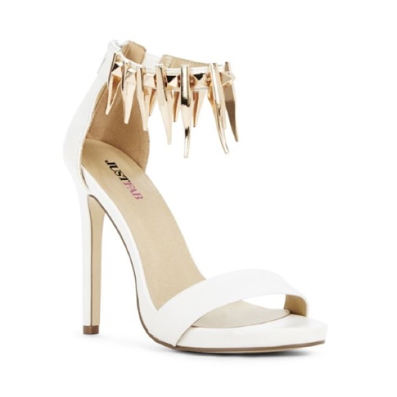50% off Shoes - White Studded Ankle Strap Heels! from Melissa's ...