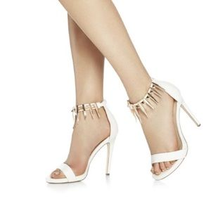 Shoes - White Studded Ankle Strap Heels!