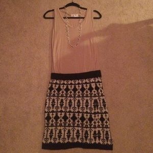 Black and cream Aztec wool skirt from Maurice's.