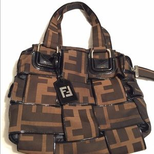 Fendi Zucca Crossword Canvas Handbag- Large