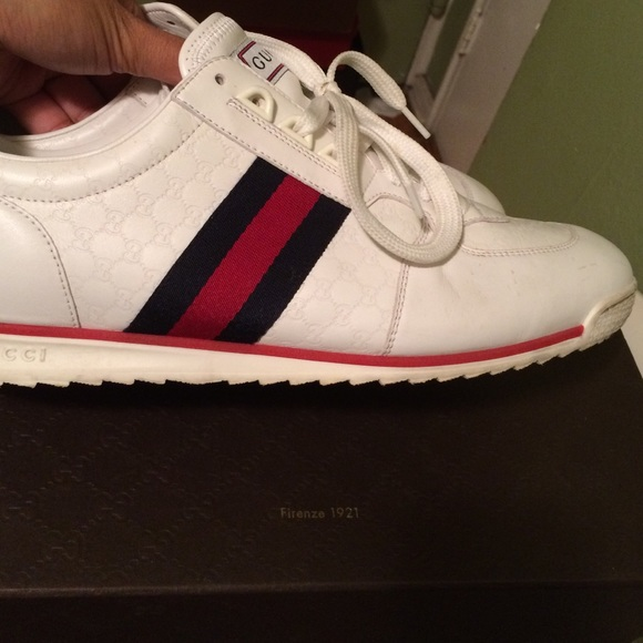 gucci used. Gucci Shoes - Used! White Leather Sneakers Used