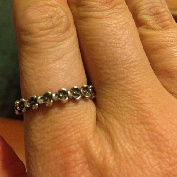 63 pandora jewelry silver flower pandora ring size 9 from