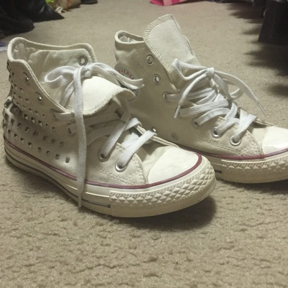 cf0d55f44fb2 Converse Shoes - Like-new studded off white high top converse
