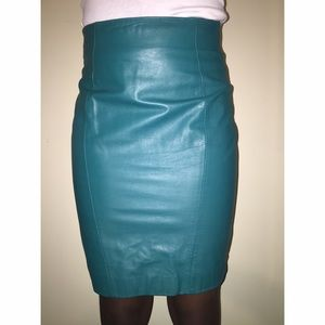 Vintage Teal  Leather Skirt