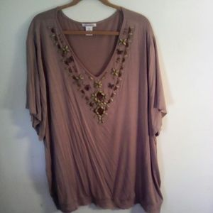 Silhouettes Tops - NWOT Plus Mocha short sl blouse w/ beads@neck. 3X