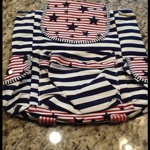 Navy Blue, White and Red striped Backpack