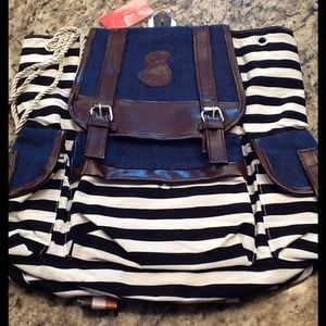 Navy Blue and White Backpack