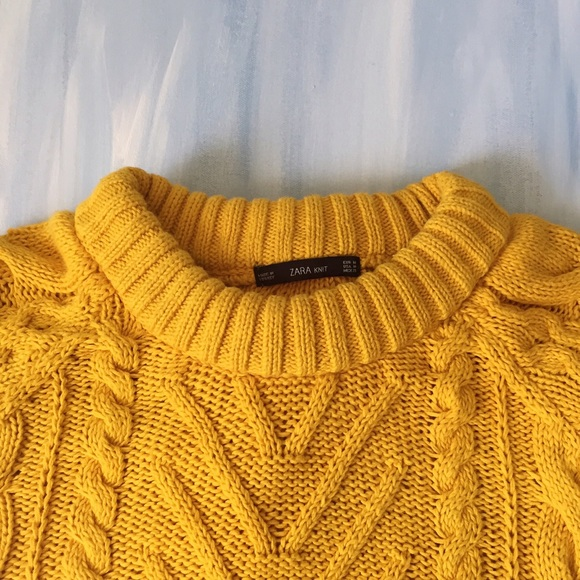 76% off Zara Sweaters - Zara Mustard Yellow Cable Knit Sweater ...