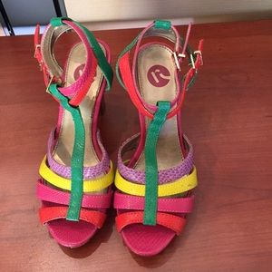 Multi color strappy sandal