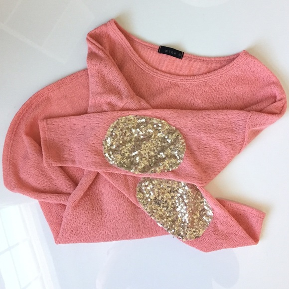 38% off Sweaters - NWOT Pink / gold sequin elbow patch sweater ...