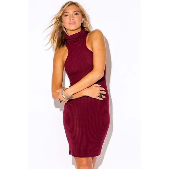 bb25d2b21f85 Dresses | Burgundy Turtleneck Sleeveless Sweater Dress 479 | Poshmark