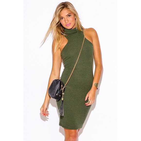 ff18c659b179 Dresses | Olive Turtleneck Sleeveless Sweater Dress 479s | Poshmark