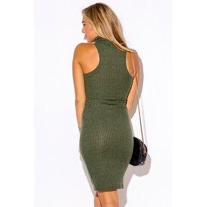 88bec2ab73dba1 Dresses - Olive Turtleneck Sleeveless Sweater Dress  479-S