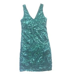Emerald green sequin cocktail dress