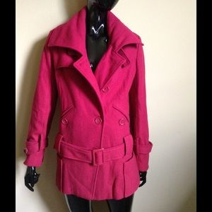 CoffeeShop Jackets & Blazers - Red wool blend belted coat