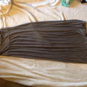 Dark green long maxi skirt