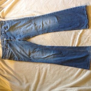 Light colored express bootcut jeans