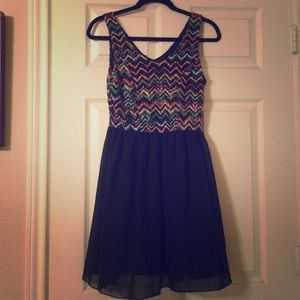 Multi-colored chevron dress