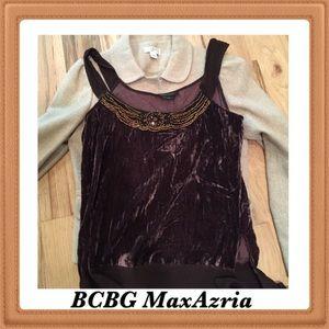 BCBG velvet cognac sleeveless top.