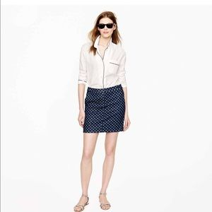 JCrew Polka Dot Denim Skirt