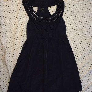 Black braided chain top